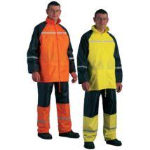 Esőruha kétrészes ruha- fluo narancs és sárga (fényvisszaverő csíkkal)