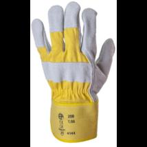 Szürke marhahasíték és sárga vászon bőrkesztyű 12-es méret