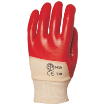 Piros mártott PVC kesztyű szellőző kézháttal (10 pár)