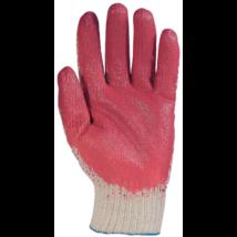 Mártott piros latex kesztyű kötött kevertszálas kézháttal 10-es