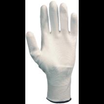 Fehér precíziós kesztyű poliuretán tenyérrel 6-11-es méretig (10 pár)