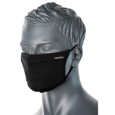 Kétrétegű anti-mikrobiális arcmaszk, FEKETE színben