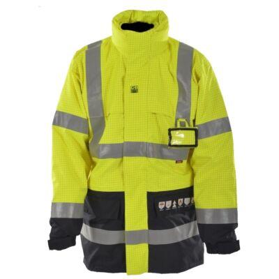 4 az1-ben HIGH-VIS MULTINORM lángálló, antisztatikus és vegyszerálló kabát polár belső dzsekivel