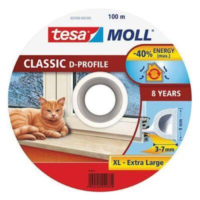 Tesamoll® Ajtó- és ablaktömítő szalag, D profil, Fehér 100m/9mm