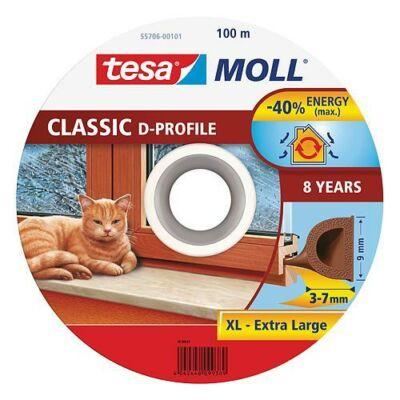 Tesamoll® Ajtó- és ablaktömítő szalag, D profil, Barna 100m/9mm