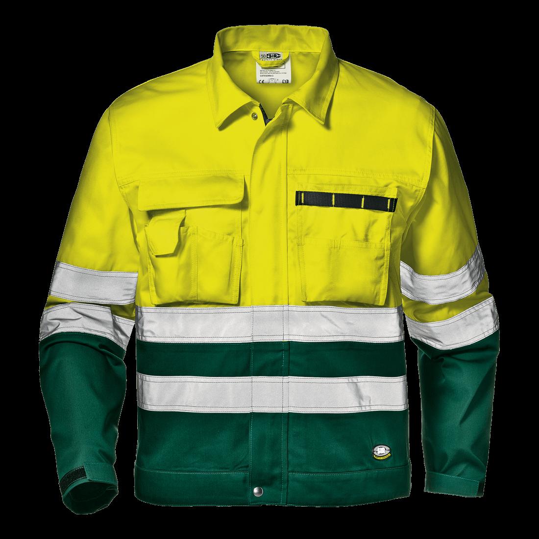 5ffa8fc0af9 Sárga-zöld jól láthatósági kabát